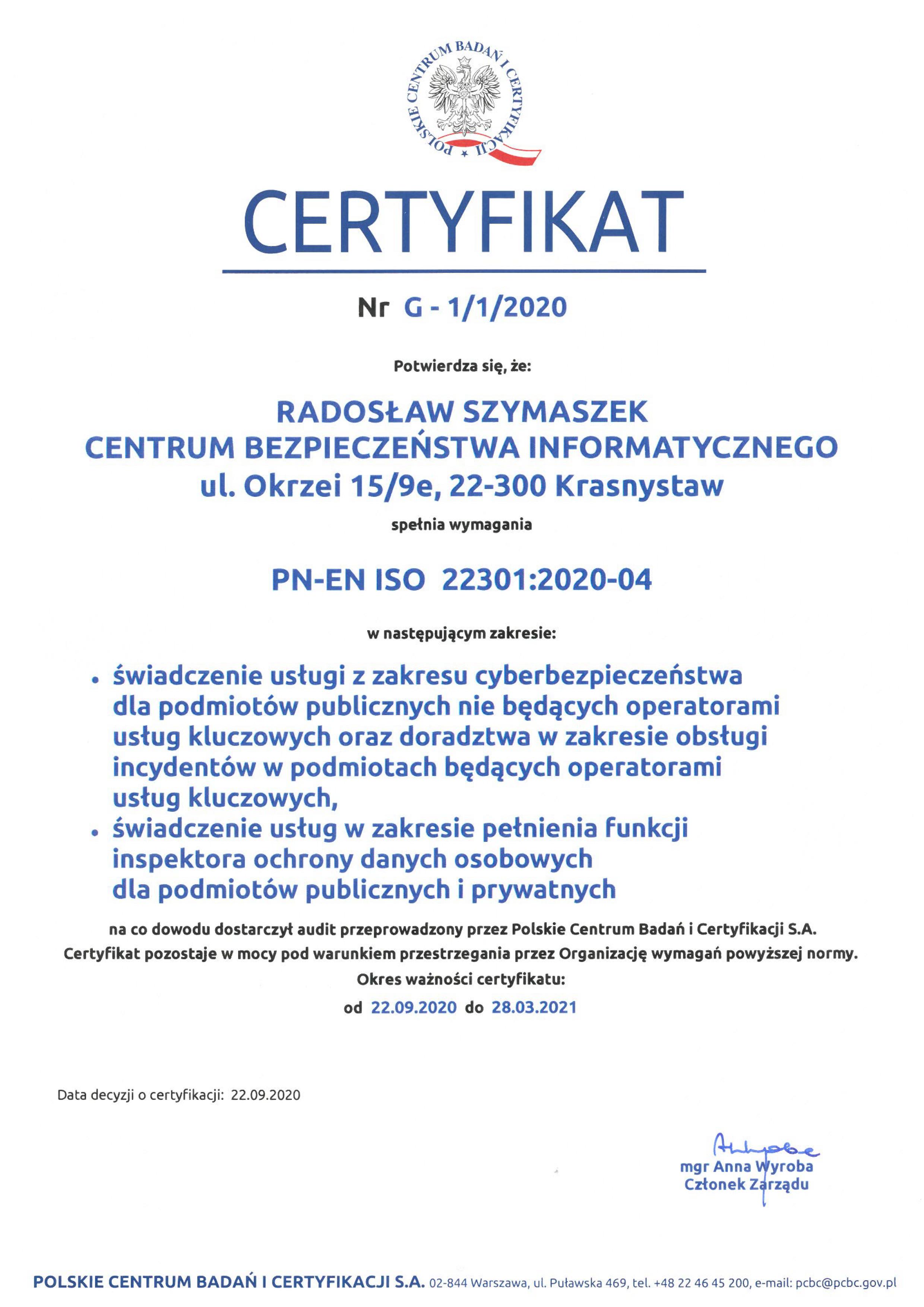 CBI_Certyfikat ISO 22301_01