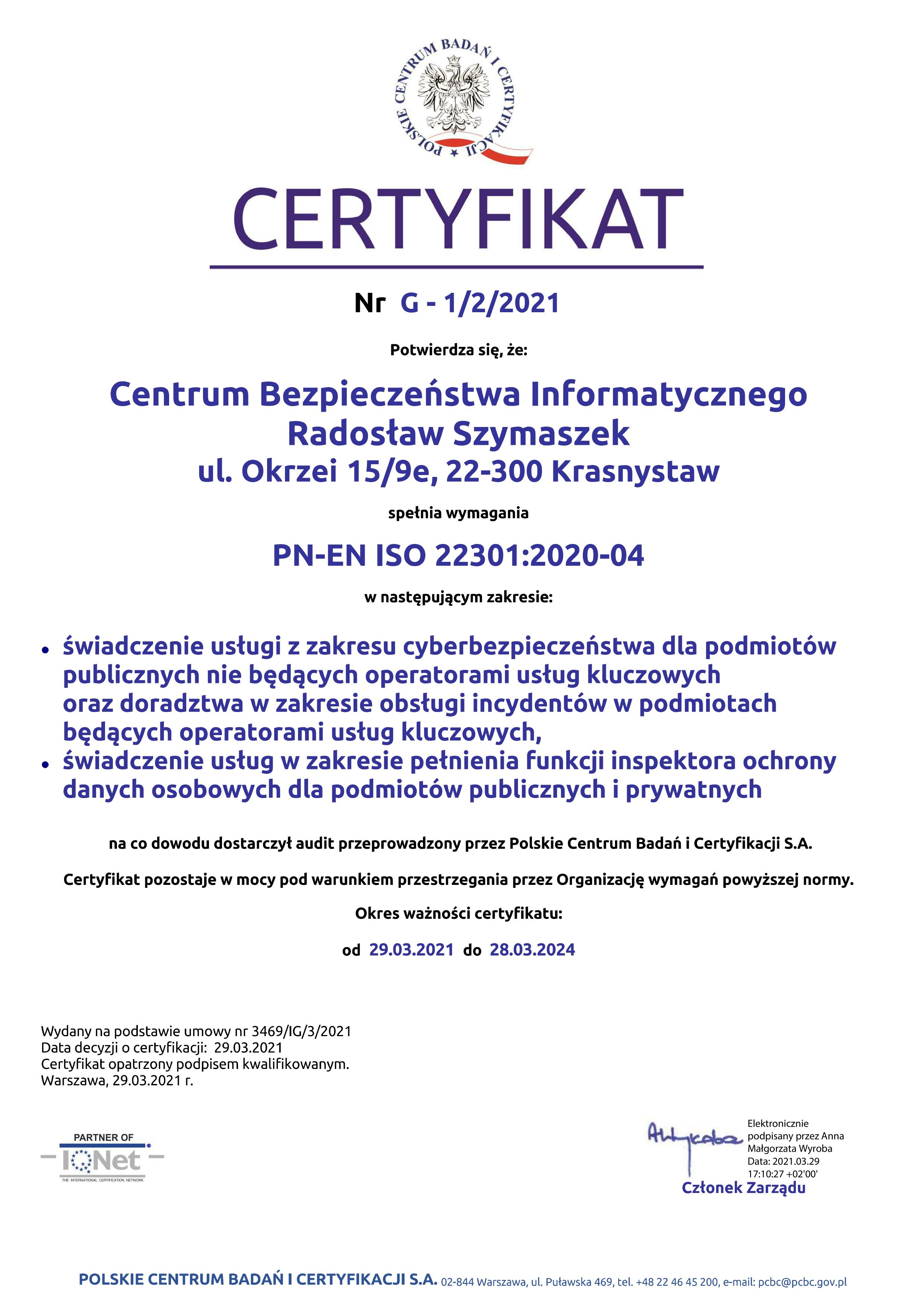 Certyfikat ISO 22301_PCBC_2021_01